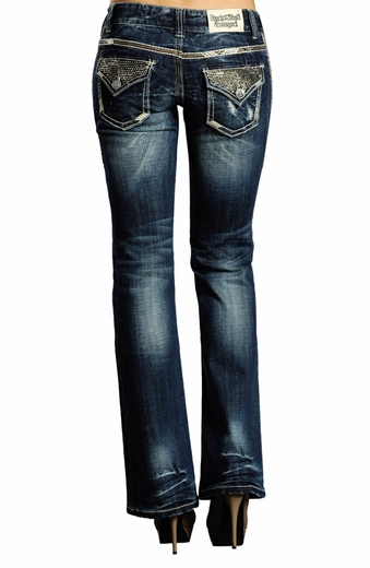 Rock & Roll Cowgirl Womens Low Rise Boot Cut Jeans with Rhinestones - Medium Vintage Wash