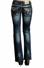 Rock & Roll Cowgirl Womens Low Rise Boot Cut Jeans with Rhinestones - Medium Vintage Wash (Closeout)