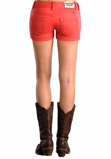 Rock & Roll Cowgirl Womens Low Rise Denim Shorts - Melon