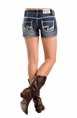 Rock & Roll Cowgirl Womens Low Rise Denim Shorts with Embroidery