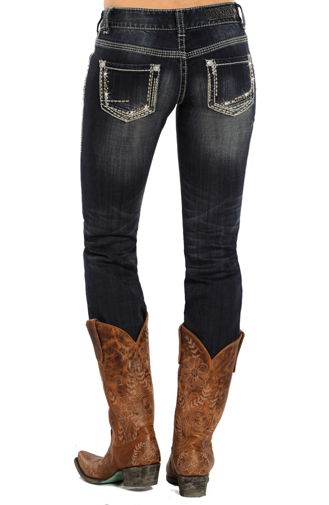 Rock & Roll Cowgirl Womens Low Rise Skinny Jeans (Closeout)