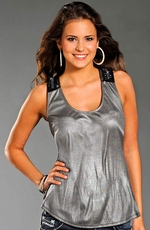 Rock & Roll Cowgirl Womens Metallic Racerback Tank - Silver (Closeout)