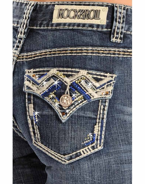 Rock & Roll Cowgirl Womens Mid Rise Boot Cut Jeans