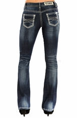 Rock & Roll Cowgirl Womens Mid Rise Boot Cut Jeans (Closeout)