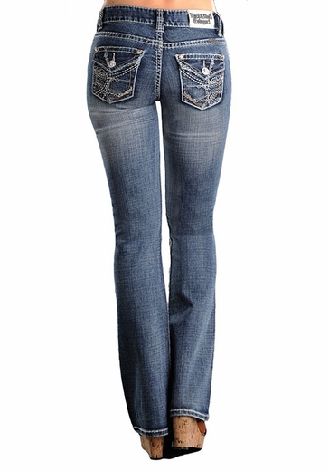 Rock & Roll Cowgirl Womens Mid Rise Boot Cut Jeans with Abstract Pockets