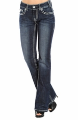 Rock & Roll Cowgirl Womens Mid Rise Boot Cut Jeans with Embroidery (Closeout)