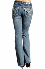 Rock & Roll Cowgirl Womens Mid Rise Leather & Rhinestone - Medium Wash