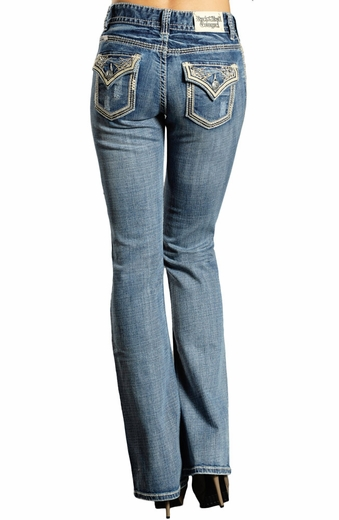 Rock & Roll Cowgirl Womens Mid Rise Leather & Rhinestone - Medium Wash (Closeout)