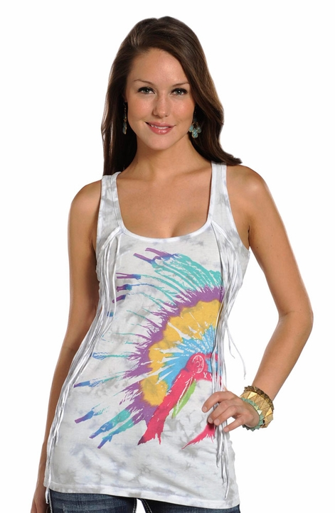 Rock & Roll Cowgirl Womens Native American Headdress Tank Top - White (Closeout)