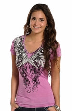 Rock & Roll Cowgirl Womens Pistols Tee Shirt - Pink (Closeout)