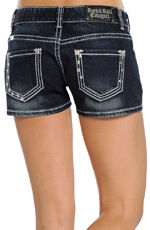 Rock & Roll Cowgirl Womens Pyramid Stud Jean Shorts - Dark Wash