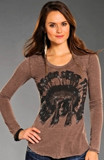 Rock & Roll Cowgirl Womens Studded Skull and Headdress Top - Brown (Closeout)