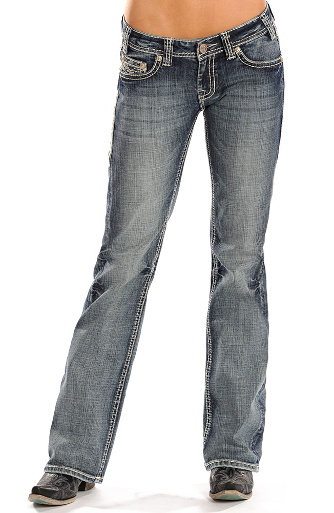 Rock & Roll Cowgirl Womens Riding Boot Cut Jeans