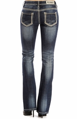Rock & Roll Cowgirl Womens Rival Low Rise Boot Cut Jeans