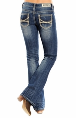 Rock & Roll Cowgirl Womens Rival Low Rise Boot Cut Jeans (Closeout)