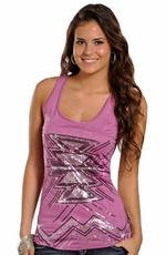 Rock & Roll Cowgirl Womens Sequin Aztec Tank Top - Purple