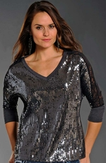 Rock & Roll Cowgirl Womens Sequin Lace Back Top - Charcoal