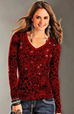 Rock & Roll Cowgirl Womens Sequin Leopard Print Burnout Top - Red