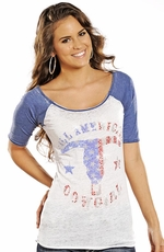 Rock & Roll Cowgirl Womens Half Sleeve American Cowgirl Burnout Top - Blue