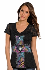 Rock & Roll Cowgirl Womens Short Sleeve Burnout Tee Shirt with Cross - Black (Closeout)