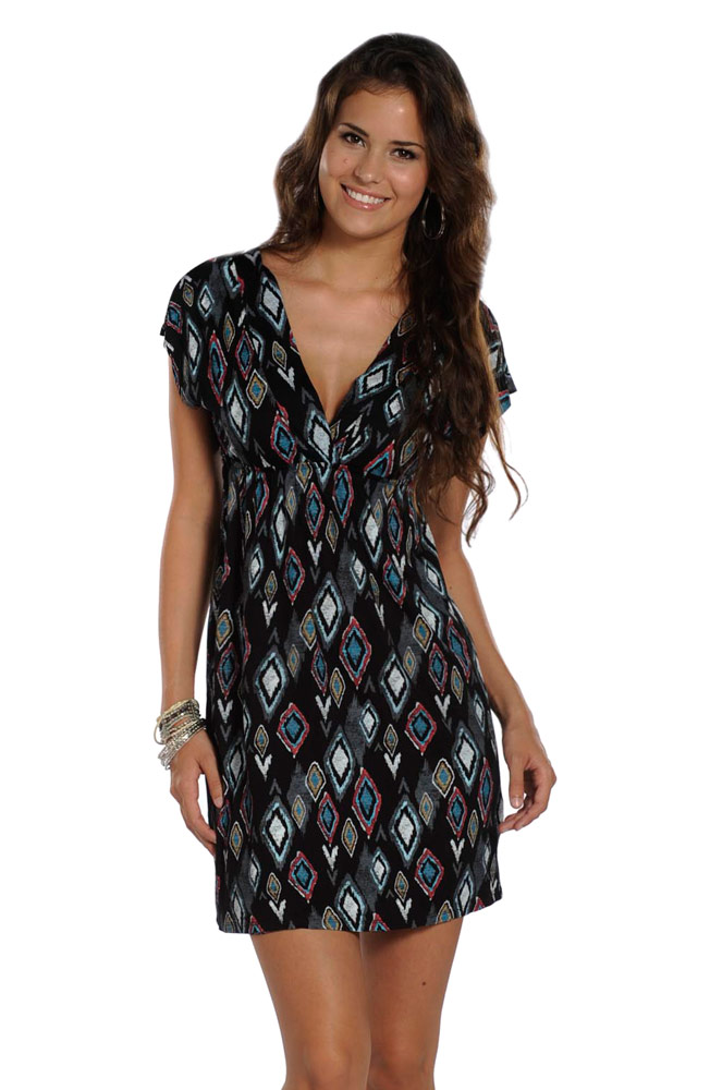 Rock & Roll Cowgirl Womens Short Sleeve Dolman Print Dress - Black (Closeout)