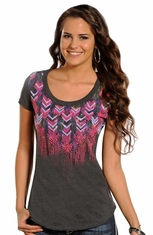 Rock & Roll Cowgirl Womens Short Sleeve Knit Top (Closeout)
