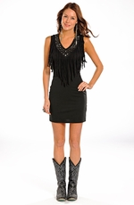Rock & Roll Cowgirl Womens Sleeveless Fringe Dress - Black