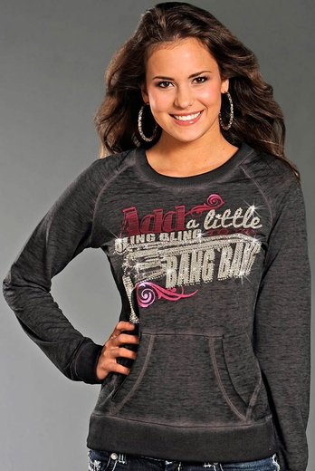Rock & Roll Cowgirl Womens Long Sleeve Bang Bang Sweatshirt - Grey (Closeout)