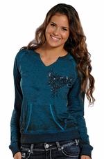 Rock & Roll Cowgirl Womens Sweatshirt - Turquoise (Closeout)