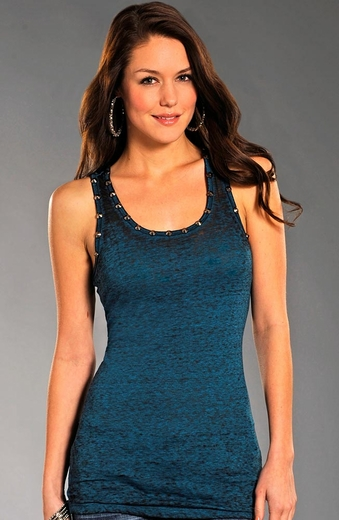 Rock & Roll Cowgirl Womens Nailhead Tank Top - Blue (Closeout)