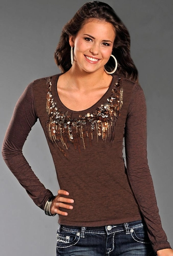 Rock & Roll Cowgirl Womens Long Sleeve Bling Top - Brown
