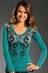 Rock & Roll Cowgirl Womens Long Sleeve Guns with Wings Top - Turquoise (Closeout)