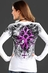 Rock & Roll Cowgirl Womens Long Sleeve Pink Foil Cross Top - White