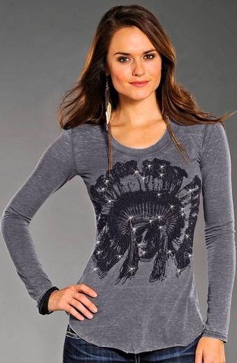 Rock & Roll Cowgirl Womens Long Sleeve Skull Top - Charcoal (Closeout)
