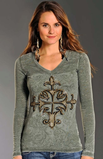 Rock & Roll Cowgirl Womens Rhinestud Cross Top - Green