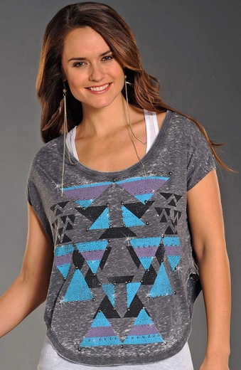 Rock & Roll Cowgirl Womens Short Sleeved Distressed Aztec Boxy Top - Charcoal