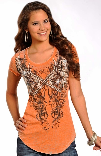Rock & Roll Cowgirl Womens Short Sleeve Knit Top