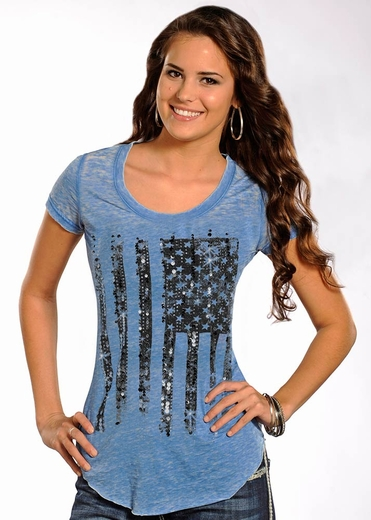 Rock & Roll Cowgirl Womens American Flag Short Sleeve Knit Top - Burnout Blue