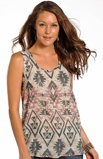 Rock & Roll Cowgirl Womens Sleeveless Top - Pink