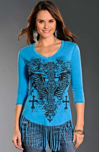 Rock & Roll Cowgirl Womens Winged Cross Fringe Top - Turquoise