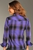Rock & Roll Cowgirl Womens Long Sleeve Sequin Plaid Snap Western Shirt - Grape