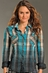 Rock & Roll Cowgirl Womens Long Sleeve Plaid Dip Dye Western Shirt