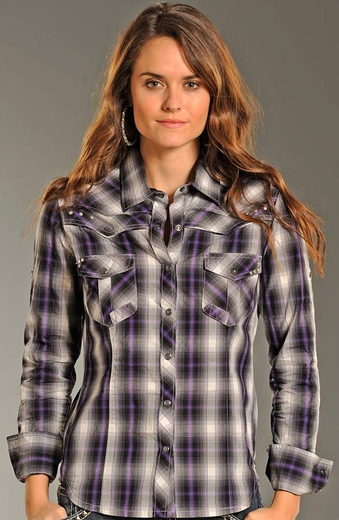 Rock & Roll Cowgirl Womens Long Sleeve Plaid Snap Western Shirt - Grape