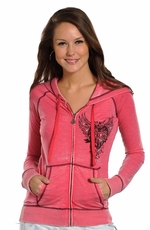 Rock & Roll Cowgirl Womens Zip Hoodie - Rose