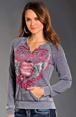 Rock & Roll Cowgirl Womens Winged Heart & Logo Sweatshirt - Steel