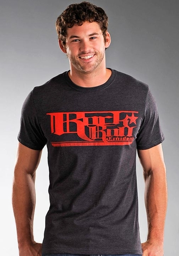 Rock & Roll Cowboy Men's Short Sleeve Tee Shirt with Logo Screenprint - Charcoal