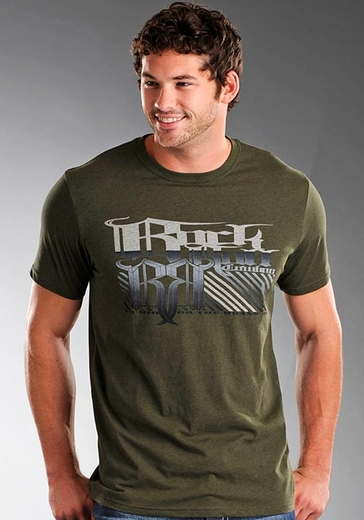 Rock & Roll Cowboy Men's Short Sleeve Tee Shirt with Stripes and Logo Screenprint - Olive Drab Green