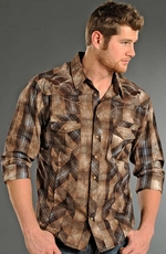 Rock & Roll Cowboy Mens Long Sleeve Plaid Snap Western Shirt - Brown