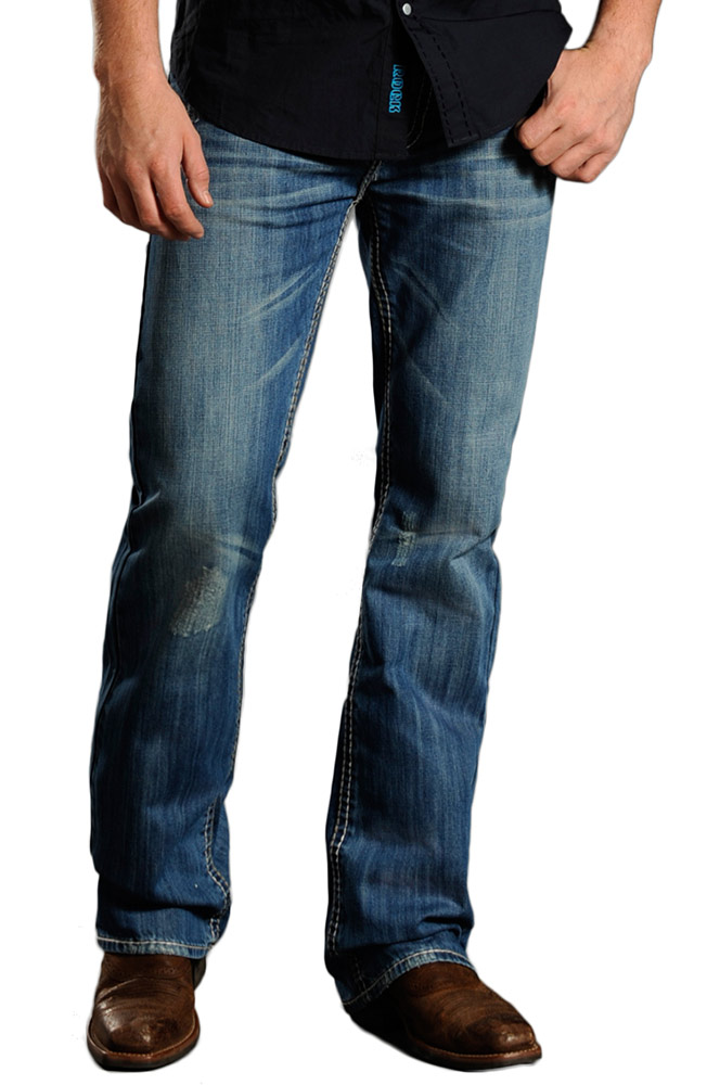 Rock amp Roll Cowboy Mens Double Barrel Relaxed Fit Boot Cut Jeans