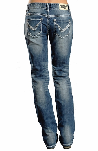 Rock & Roll Womens Cowgirl Boyfriend Jeans with Abstract V (Closeout)